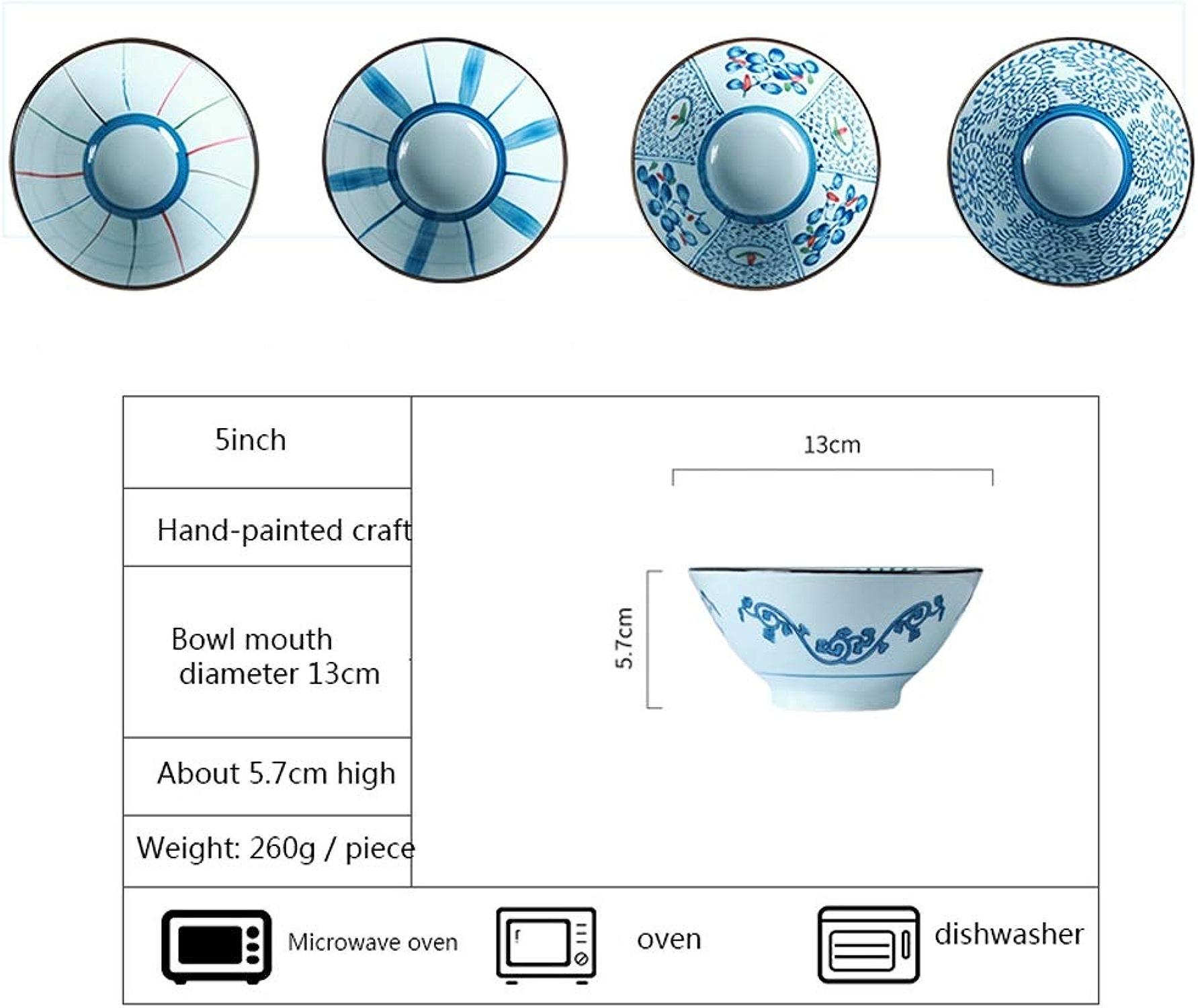 WJP Ronde 5 pouces bol de riz seau haut-parleur bol quatre pièces ensemble, santé et sécurité bol japonais en céramique de série bleue Style Style pour les cadeaux de mariage