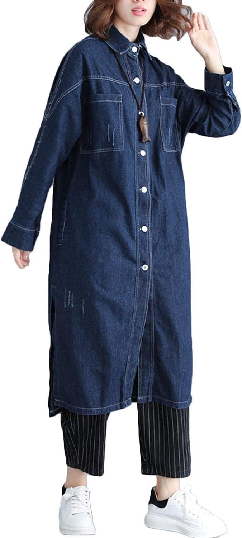 Flygo Women's Casual Long Sleeve Boyfriend Long Jean Denim Jacket