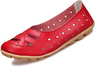 Women's Leather Loafers Flats Sandals Slip-On