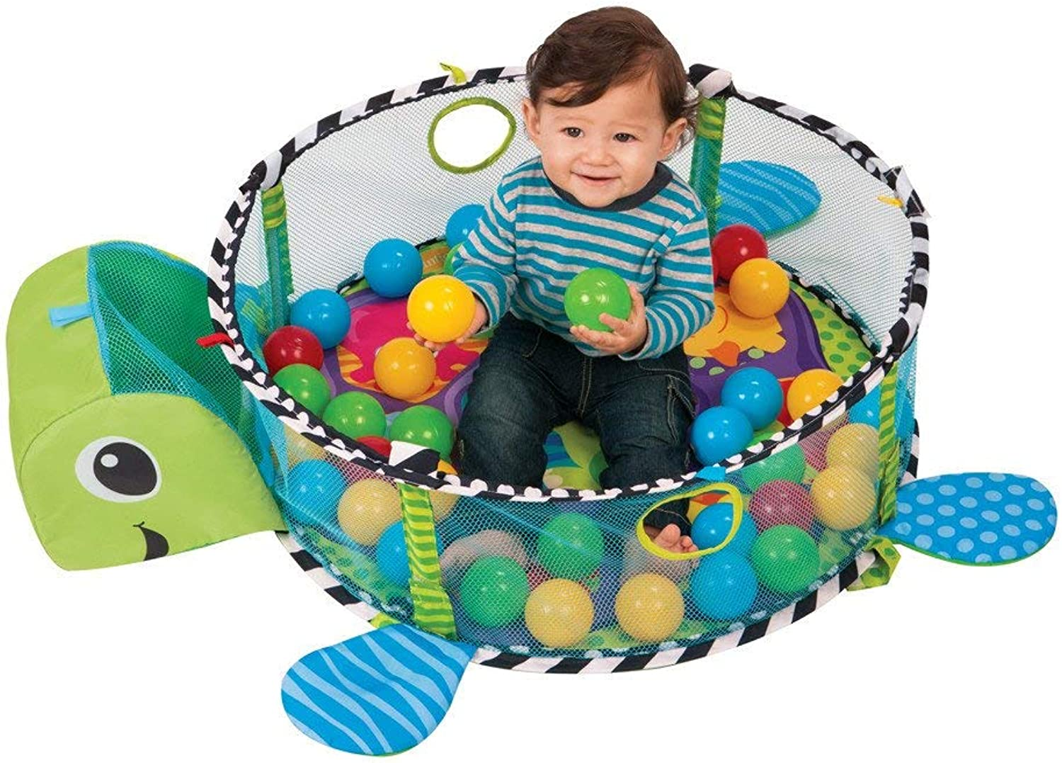 3 in 1 Baby Play Mat Sea Turtles Style Baby Changing Mat Crawl & Soft Hanging Musical Activity Mat Kids Rug Toys&30 Balls,70×52×20cm