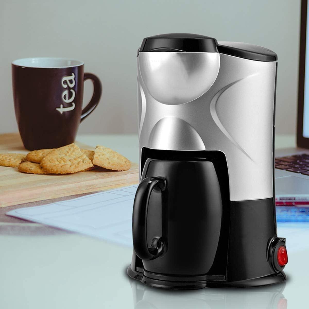 Une machine à café filtre, goutte à goutte seule tasse de café avec la coquille filtre amovible broyeur machine à café 300W (noir),noir Noir