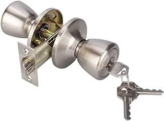 Keyed Entry Knob Lock for Exterior Door and Front Door Tulip Knob Door Handle Satin Nickel Finish 5761-SN-ET-1P