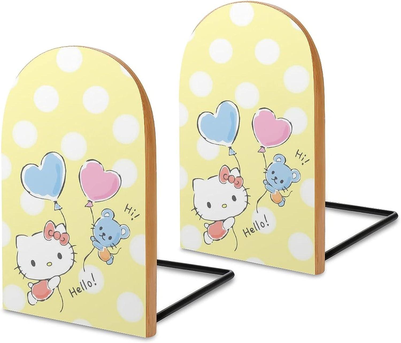 KRISMARIO Hello Kitty Balloons 2pcs Heavy Wood Logs Bookends Mod