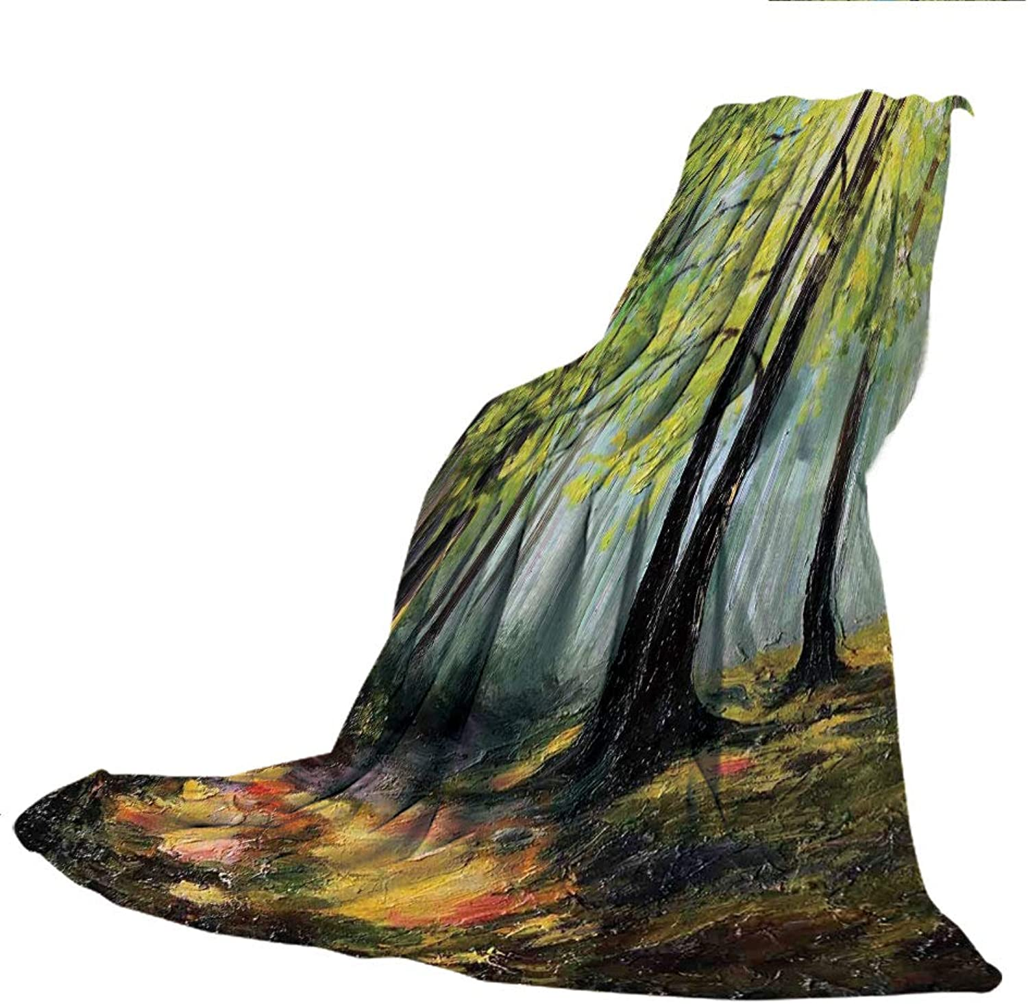 SCOCICI SuperThick Flannel Warm Sofa or Bed Blanket,Country Decor,Painting Landscape of a Forest Dark and Deep with Fresh colors in Autumn Nature Artsy Work,Multi,39.37  W x 59.06  H