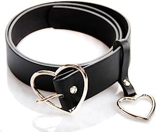 UTENEW Heart Shape Belts Wide Black Leather Waist Belt Women Jeans Pants Dresses with Alloy Buckle