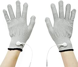 Pair of Silver Conductive Massage Gloves With Adapter Lead wires For Tens/Ems Machine