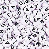 PandaHall Elite 約500個セット 7x4mm アルファベット ビーズ 大容量 アクリル 黒 白 ミックス ホワイト 可愛い 文字 スペーサービーズ パーツ ラウンド DIY用 手芸 材料 ハンドメイド レジン封入 UVレジン 素材