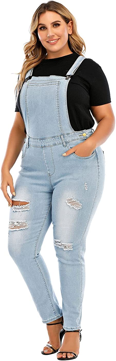 PYL Women's Plus Size Denver Mall Casual Sales for sale Denim Button Dress Cl Front Overall
