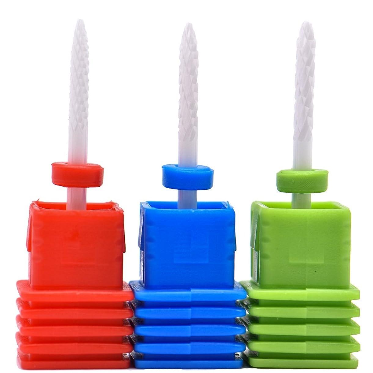 ふくろう摂氏度昇進Oral Dentistry ネイルアート ドリルビット 細かい 研削ヘッド 研磨ヘッド ネイル グラインド ヘッド 爪 磨き 研磨 研削 セラミック 全3色 (レッドF(微研削)+ブルーM(中仕上げ)+グリーンC(粗研削))