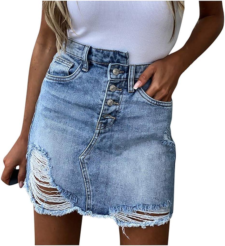 YOCheerful Blue Denim Skirt Women Summer Casual High Waist Pocket Hole Button Irregular Short Jeans Straight Skirt