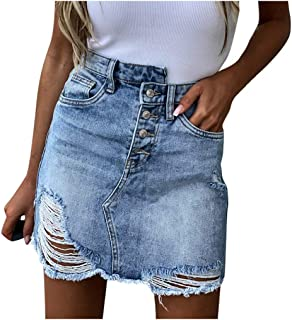Donna Estate Blu Solido Denim Gonna Donne Estate Casual Vita Alta Denim Tasca Foro Pulsante Retro Breve Jeans Gonna