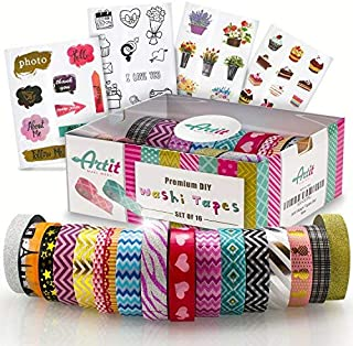 ARTIT Washi Tape Set 16 Extra Long (10 M) Decorative Rolls Craft Duct Masking Tapes Scrapbooking DIY Gift-Wrapping Glitter Patterned Solid Ultra Sticky Adhesive Includes 4 Bonus Sticker Pages