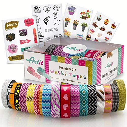 Journal Variety of Colors in Solid Glitter /& Foil  Great for Adults and Kids; Decorating Scrapbook Planner; Gift Wrapping; DIY Arts /& Crafts 24 Rolls Multi-Purpose Washi Tape Set