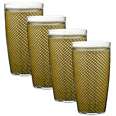 Kraftware The Fishnet Collection Doublewall Drinkware, Set of 4, 22 oz, Moss