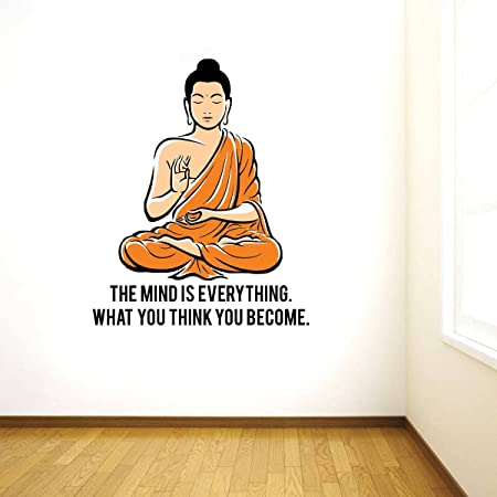 Rawpockets 'Peaceful Buddha and Quote on Mind ' Wall Sticker (PVC Vinyl, 95 cm x 75cm, Multicolour) (RPC1090)