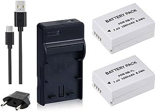 NinoLite 4点セット NB-7L 互換 バッテリー2個 +USB型 充電器 +海外用交換プラグ 、キャノン Canon 対応 dc86nb7lx2_t.k.gai