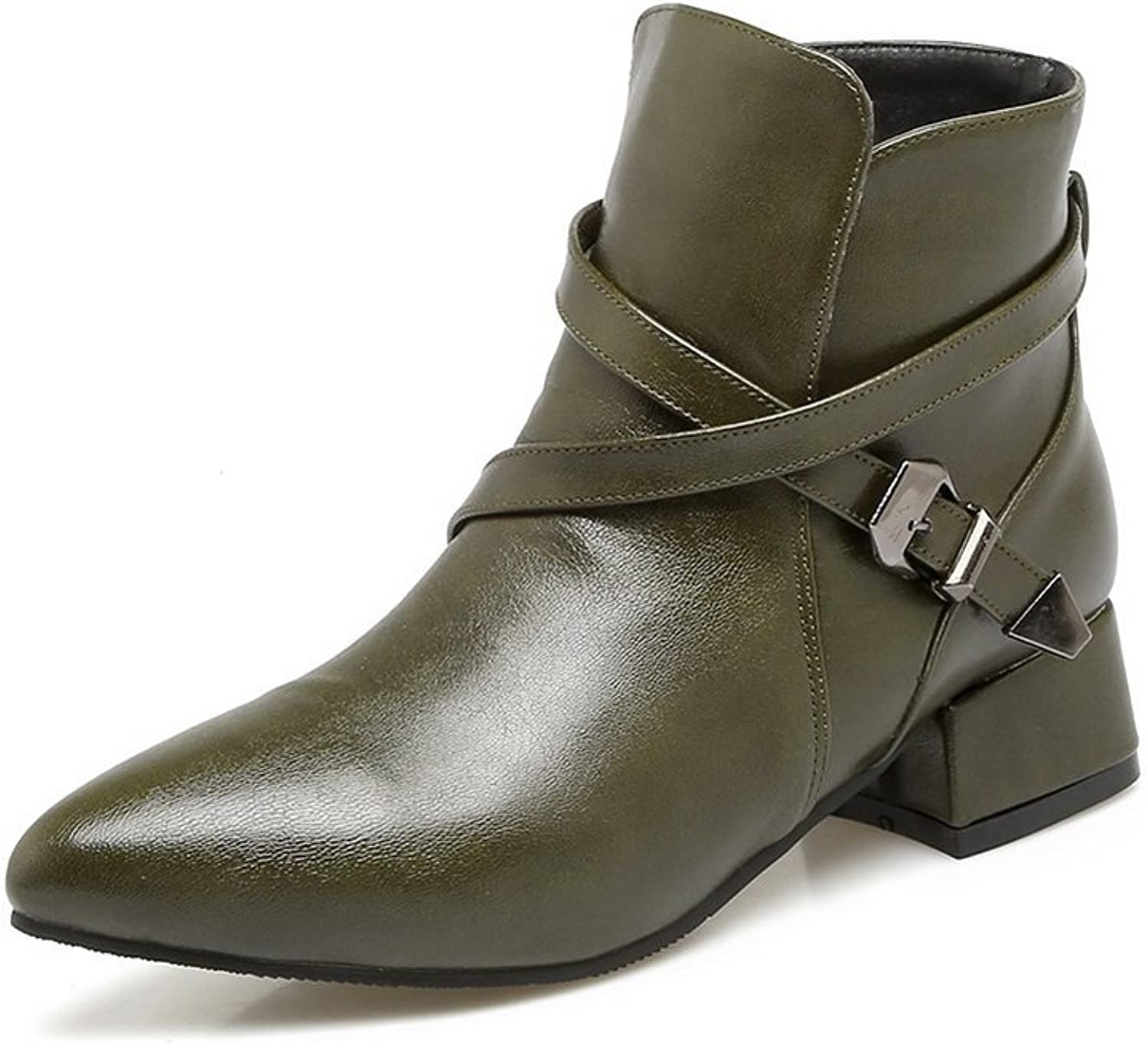A&N Womens Pumps-shoes Closed-Toe No-Closure Adjustable-Strap Heeled Water_Resistant Warm Lining Bootie Smooth Leather Light-Weight Urethane Pumps shoes DKU01710