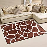 WOZO Animal Print Giraffe Spot Area Rug Rugs Non-Slip Floor Mat Doormats Living Dining Room Bedroom Dorm 60 x 39 inches inches Home Decor
