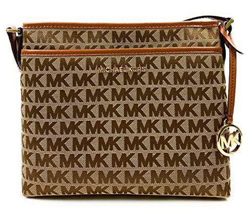 """Top Zip Closure With Gold Tone Hardware Interior Features Custom Michael Kors Fabric Lining, 1 Zip Pocket and 1 Slip Pocket Adjustable Shoulder Strap Approximately 22-25"""" Approximate Measurements: 10 in L x 9 in H x 1.5 in W"""