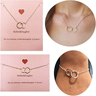 Your Always Charm Mother Daughter Necklace Bracelet,Two Interlocking Infinity Double Circles Jewelry Set