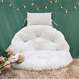 Picralt Overstuffed Chair Cushion, papasan Cushion, Sink Into Our Thick Comfortable and Oversized Papasan, Pure 100% Cotton Duck Fabric, Fits Standard 41 Inch Round Chair (White)