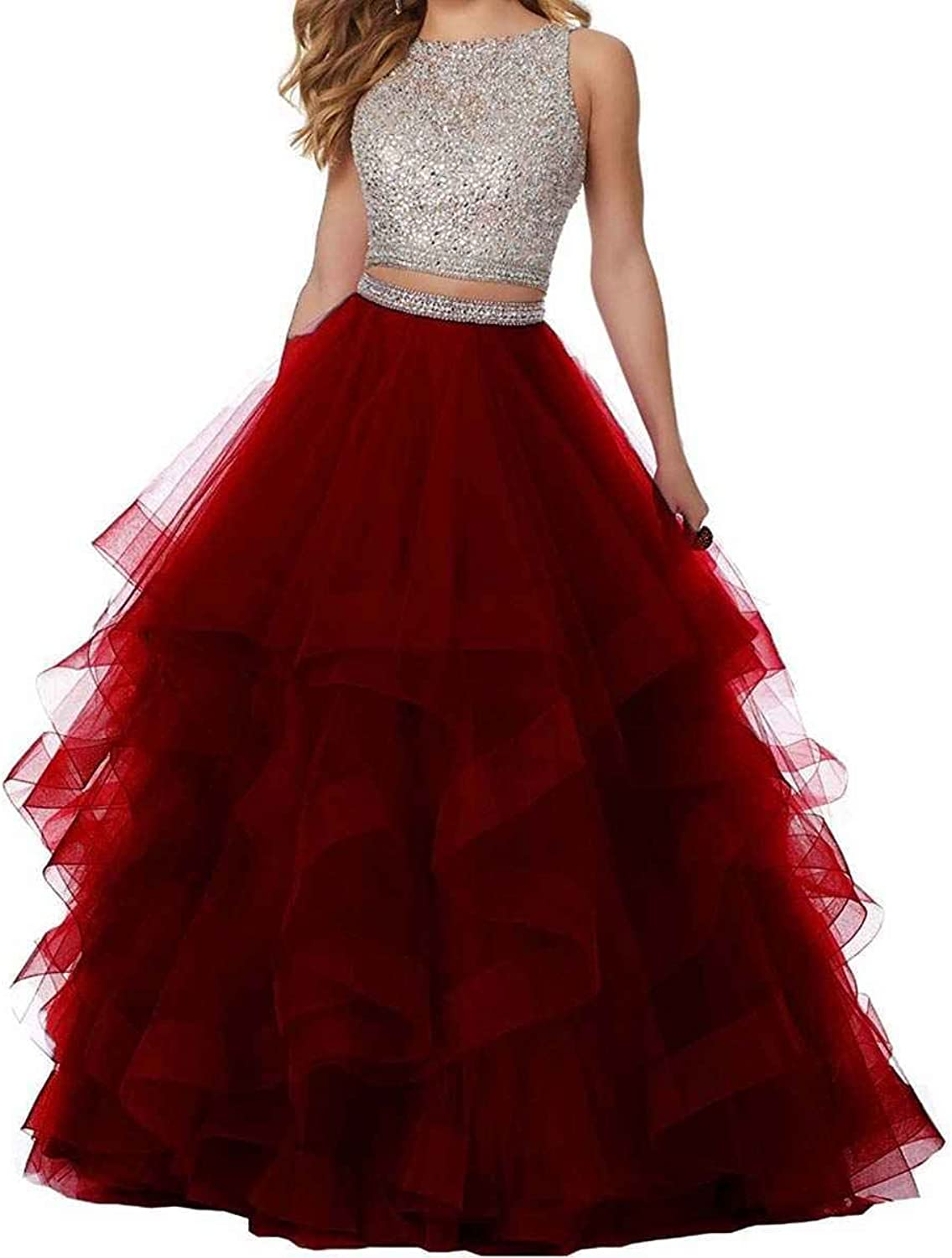 Ruisha Women Sexy Beaded Two Pieces Prom Homecoming Dresses Long Tulle Formal