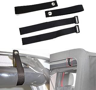 ALAVENTE 4 Pcs Durable Soft Top Tie Down Sunrider Straps & Window Roll Up Snap Straps for for Jeep Wrangler JK JKU YJ TJ JL JLU Unlimited & Sports