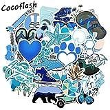 BLOUR Blue Cartoon Animal Fish Love Doodle Stickers para Laptop TV Nevera Bicicleta Impermeable Decal Toy para niños 50pcs / Set