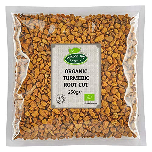 Organic Dried Turmeric Root Cut 250g by Hatton Hill Organic - Free UK Delivery