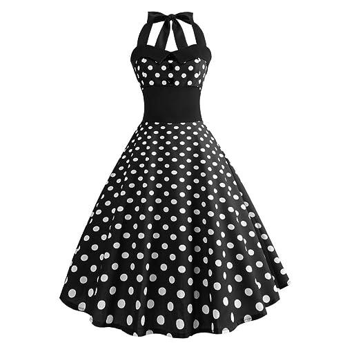 BURFLY Women Classy Vintage 'Audrey Hepburn'Style 1950's Polka Dot Halter Rockabilly Swing Evening Printing Bodycon Sleeveless Halter Dress