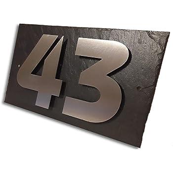 Plaque de numéro de maison en acier inoxydable avec numéro de maison et  ardoise en 10D
