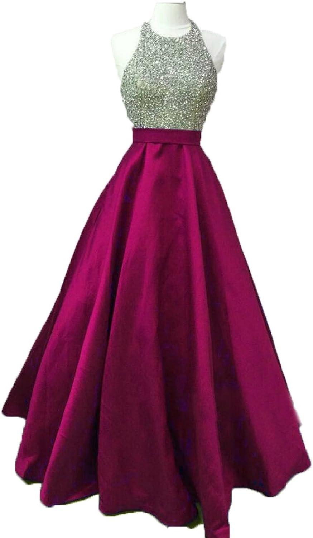 Ellenhouse Women's Long Beaded Halter Evening Prom Party Dresses EL280