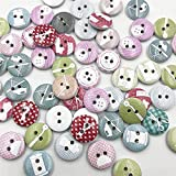 Bigbarry Vistoso 100 PCS Colorido 2 Hoyos Botones de Madera Artesanía Scrapbooking Costura Ropa Accesorios 15mm Botones Pintados Costura Exquisito