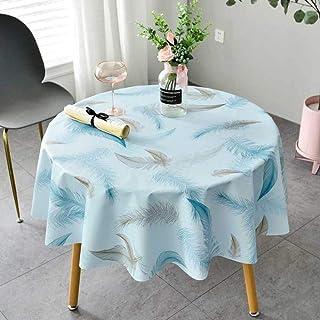 QSYT Nappe PVC Nappe Ronde en Toile cirée Linge de Table à Carreaux imperméable à l'eau Résistant aux Taches Durable Résis...