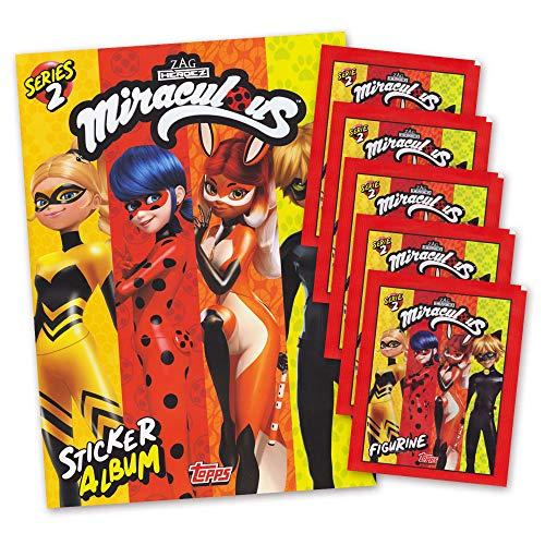 Miraculous Serie 2 Stickerset Sammelalbum + 5 Booster - deutsche Ausgabe