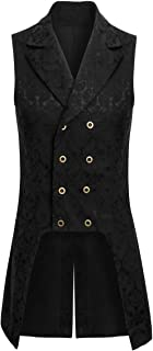 Jila Adult Mens Double Breasted Gothic Steampunk Costume Pirate Tailcoat Vest Victorian VTG Brocade Waistcoat