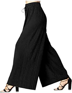 d2051066ad6df Design by Olivia Women s Elastic Waist Chiffon Loose Pleated Wide Leg  Palazzo Overlay Pants Capri