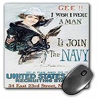 "3drose 8x 8x 0.25インチマウスパッド、ヴィンテージ"" Gee I Wish I Were a Man""海軍募集ポスター(MP 149373_ 1)"