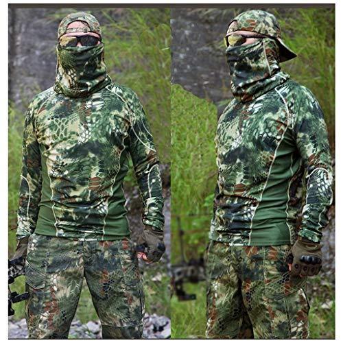CIGONG Camouflage-Anzug Angeln im Freien Jagdvogel Reiten Frühling und Sommer T-Shirt mit rundem Halsausschnitt T-Shirt Dünne Hosenhose schnell trocknend Schlanker Sportanzug Tarnen (Size : M)