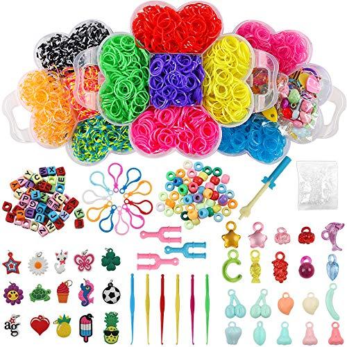 BAKHK Loom Bänder Starter Set Gummibänder Set 4500 Stück mehr als 200 Zubehör für die Armbandherstellung, Gummiband DIY Handarbeit für Kinder und Erwachsene