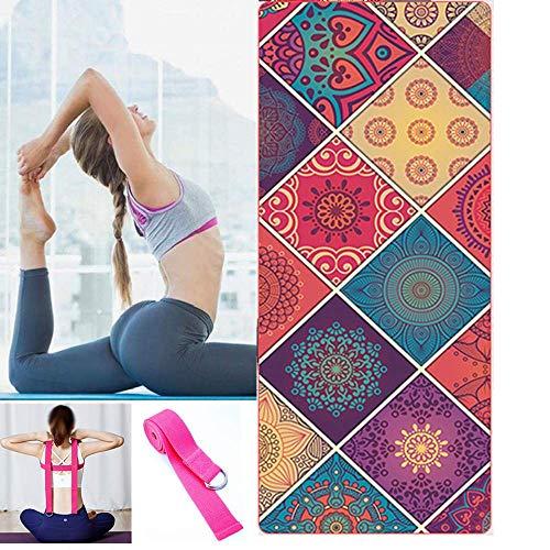 CDblue Tappetino da Yoga Tappetino da Yoga Pieghevole Spesso Antiscivolo da Viaggio Tappetino da Allenamento per Yoga Pilates e Fitness con 1 Cinturino Elastico per Yoga (Fiore)