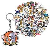 GTOTd Pegatinas de Tom y Jerry, 50 unidades (con bonito llavero), dibujos animados, regalos para fiestas, vinilos, monopatín, guitarra, equipaje