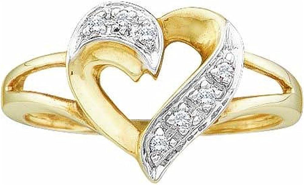 Dazzlingrock Collection 0.05 Carat (ctw) 10K Round White Diamond Ladies Split Shank Promise Heart Ring, Yellow Gold