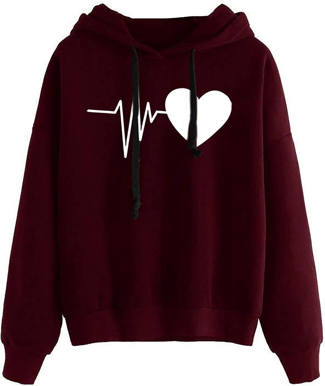 FABIURT Womens Hoodies, Women Girls Cute Heart Printed Hoodies Casual Loose Long Sleeve Pullover Sweatshirt Hoodie Tops
