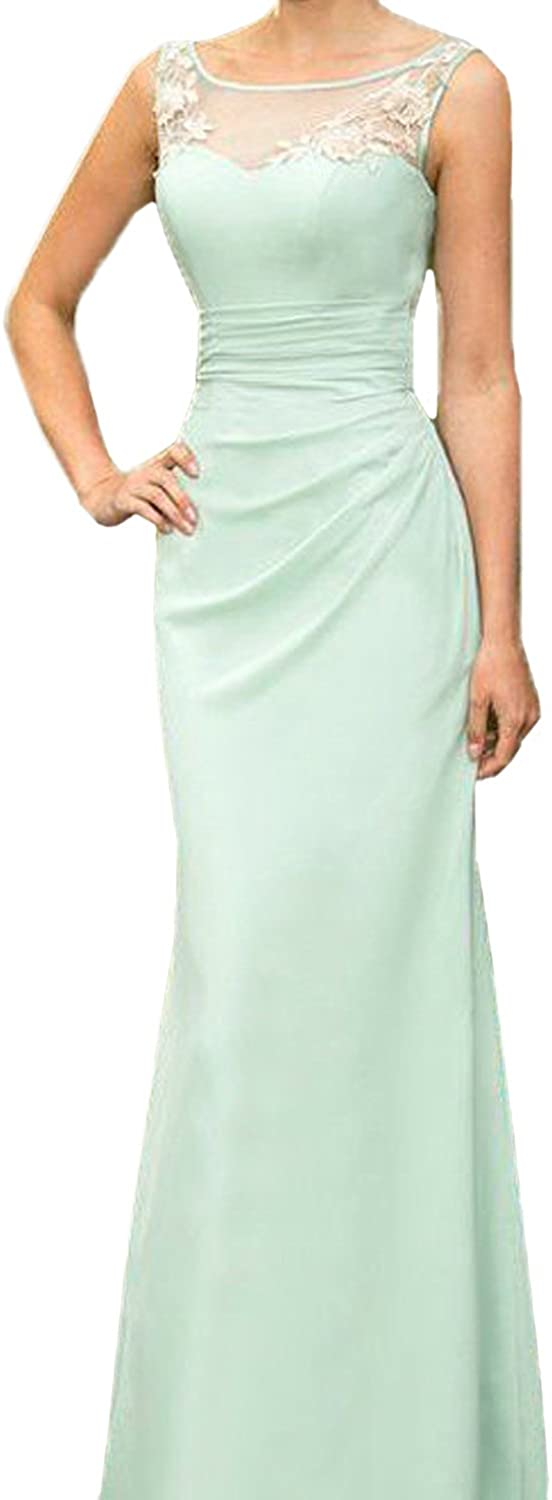 Honey qiao Mint Sheer Scoop Bridesmaid Dresses Long Mermaid Lace Prom Party Gown
