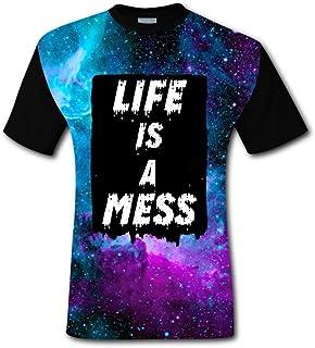 ce11f49b KssKsa Life is A Mess Men's Casual T-Shirt 3D Print Short Sleeve