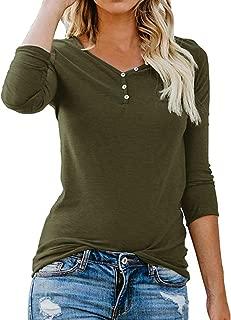 KANGMOON Women's V Neck Long Sleeve Tops Henley Shirt Button Down T Shirt Casual Basic Tops Blouse