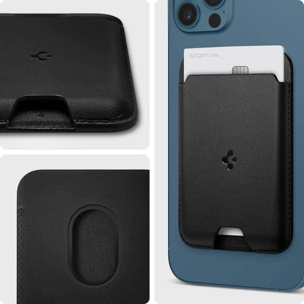 iPhone 12 Pro//iPhone 12 Pro Max//iPhone 12 Mini Black Spigen Valentinus Magnetic Wallet Card Holder Designed for MagSafe Compatible with iPhone 12
