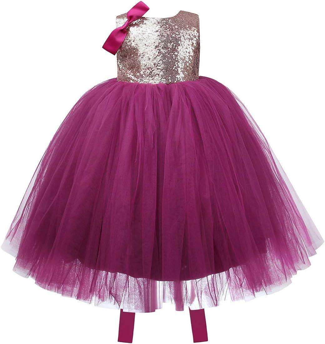 ZTXHRS Long Princess Girls Dress for Wedding Birthday Party Sequin Mesh Tull Dress Sleeveless Flower Party Ball Gown