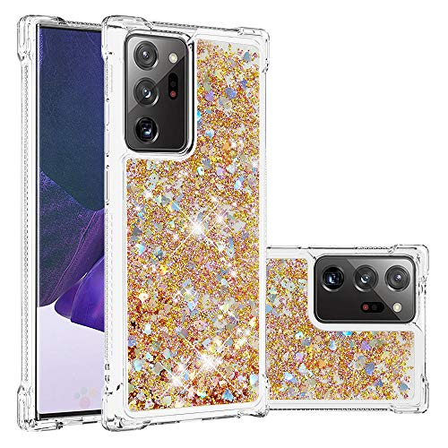 Funda para Galaxy Note 20 Pro, Samsung Galaxy Note 20 5G Quicksand Case Girly Protective Glitter Liquid Bling Hybrid Resistente a los golpes Bumper Soft Rubber Cover (Galaxy Note 20 Pro, Gold)